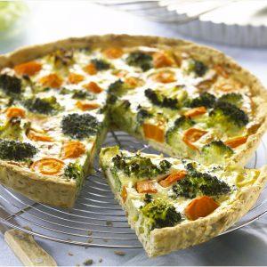 Tarta de zanahoria y brócoli con sojade cuisine y pasta con cereales